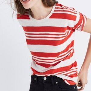 Madewell Striped Crew Neck Tee Size Medium